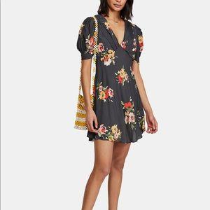 Free People Neon Garden Black Mini Dress
